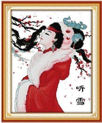 人物新款 聽雪 古代美女 現代中式 客廳臥室 豎款掛畫 100%精準印布