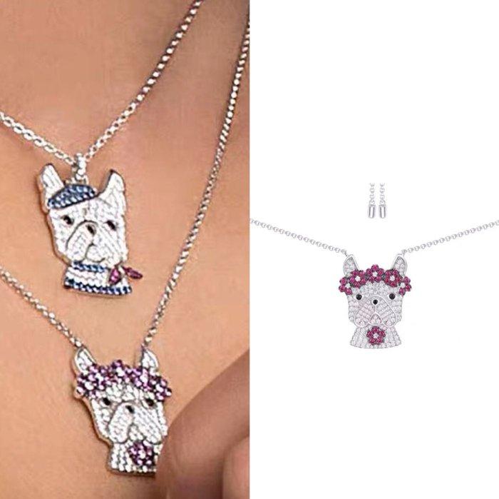 💎1163、(預購)80s小怪獸系列 法國優雅仕女法鬥犬項鍊💎正韓飾品 耳環 珠寶 925純銀針