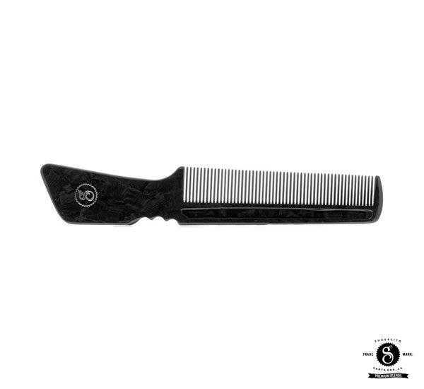 GOODFORIT / 美國Suavecito Black Pearl Handle Comb黑珍珠板料長柄梳