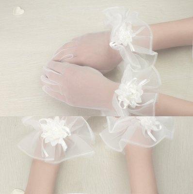 凡妮莎新娘手套 高雅蕾絲花朵手套 婚紗 禮服 飾品