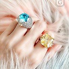 :::W.G:::歐美奢華系列海洋之星鴿子蛋藍寶石戒指 TIFFANY