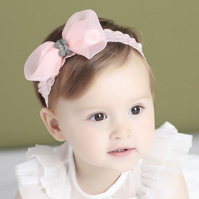 ☆草莓花園☆B59兒童髮帶 蝴蝶結紗網蕾絲 兒童髮飾  百天照頭飾 嬰兒髮帶 髮冠 皇冠 造型周歲照 藝術照