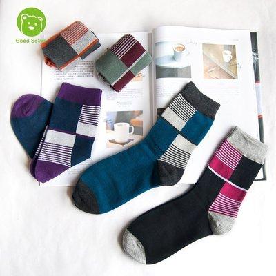 男襪 色塊撞擊中筒襪紳士襪短襪襪子【G...