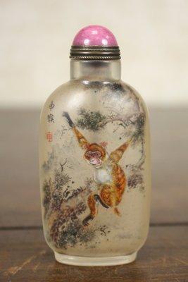 悅年堂 --- 玻璃 內畫 馬少宣 十二生肖 猴 鼻煙壺
