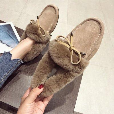 【Trend Sh】毛毛鞋女冬2018新款加絨真皮平底豆豆加厚鞋兔毛棉鞋正韓保暖瓢鞋