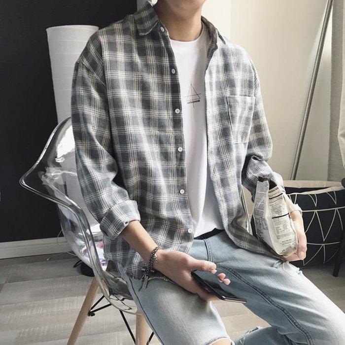 長版襯衫方少男裝春季新款寬鬆格子襯衫青年休閒韓版潮流百搭襯衣外套