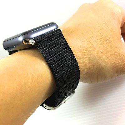 Apple Watch 2 3 4 5 代 專用 黑色 寬版 尼龍 錶帶 加厚 輕盈舒適 38 40 42 44