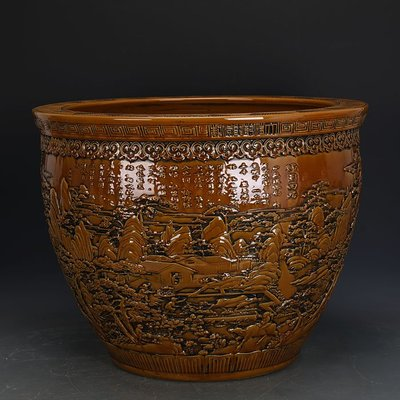 ㊣姥姥的寶藏㊣ 大清乾隆黃釉雕刻浮雕山水人物圖瓷缸 官窯  古瓷古玩古董收藏