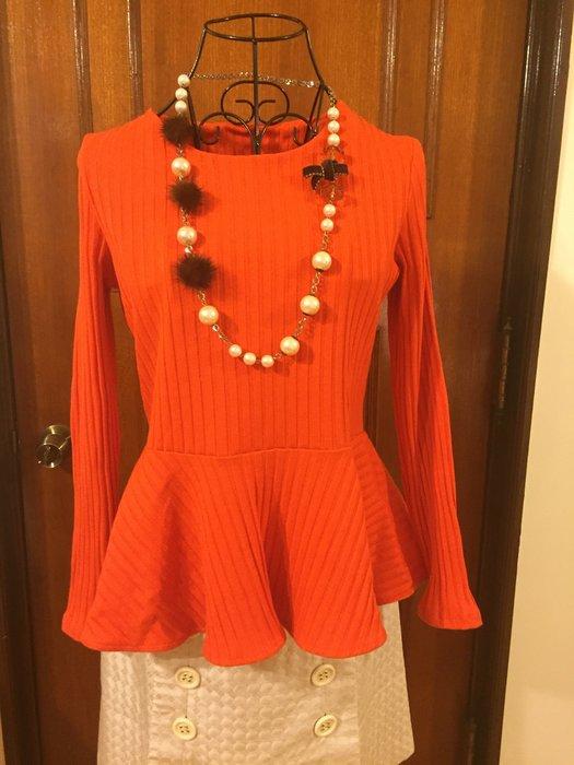 H&M 瑞典品牌 - 收腰顯瘦荷葉下擺長袖棉衫  - 橘色 (促銷商品)