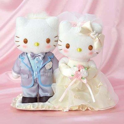 尼德斯Nydus 日本正版 凱蒂貓 Hello kitty 結婚組 結婚禮盒 娃娃 絨毛玩偶 公仔 高約27cm