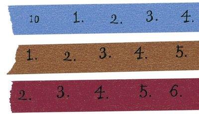 【R的雜貨舖】紙膠帶分裝 倉敷意匠和紙膠帶- 倉敷意匠 Number マスキングテープ 15mm 數字