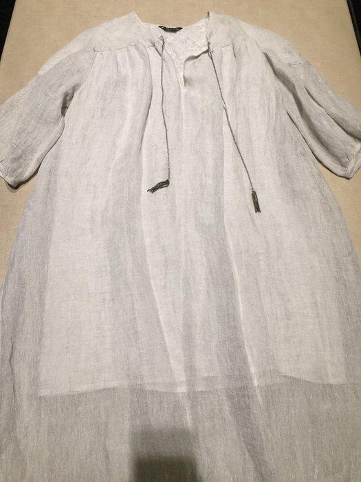 全新 溫慶珠 淺石灰色麻質長袍 連身裙 洋裝  Isabelle Wen設計師 附吊牌