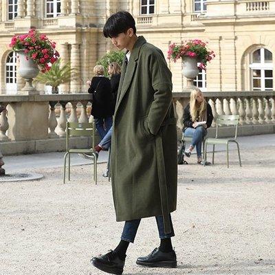 男大衣 日系風衣男長款加厚保暖呢大衣男潮男士寬鬆呢外套子韓版聖誕狂歡好康八折