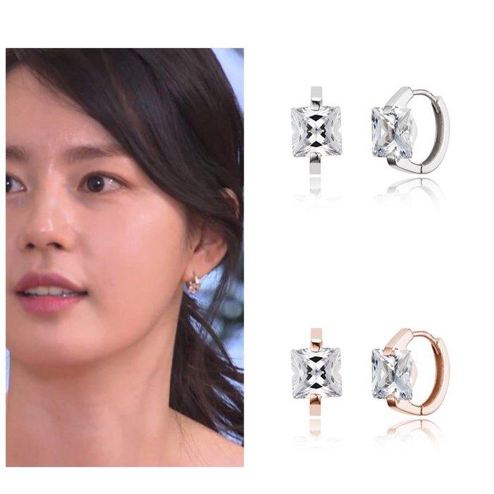 【韓Lin連線代購】韓國 HAESOO.L 海秀兒 - JE623 925銀 方形鑲鑽耳環