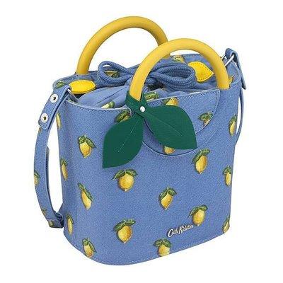Cath Kidston 天空藍夏日黃檸檬手提包肩背包斜背包 皮革樹葉