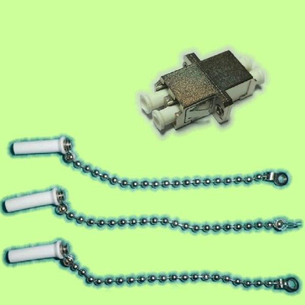 5Cgo【權宇】電信級 LC 雙工金屬光纖耦合器 法蘭轉接頭+防塵帽共30組套裝 大量可議 另帶鏈可報價 含稅會員扣5%