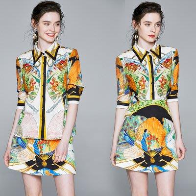 6387-新款時尚歐美定位花翻領扇形襯衫+a字短裙套裝【實拍】