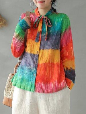 ||一品著衣||  淺話桑麻亞麻印花上衣系帶春新文藝復古寬松長袖彩虹襯衫