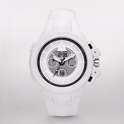 【A X ARMANI EXCHANGE- AX 1280】100% 全新正品 時尚 運動 電子 三眼錶 手錶 / 白色