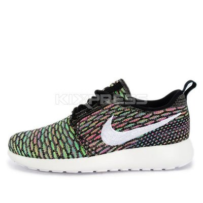 Nike WMNS Rosherun Flyknit Black/White-Rainbow 綠US 6.5 7 8.5