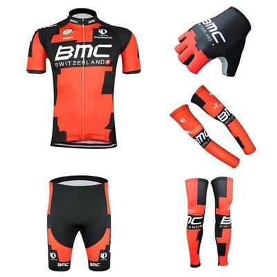 【綠色運動】2015款BMC黑紅 5件套組合 車衣+短褲+手套+袖套+腿套 自行車衣 單車服 腳踏車衣 車衣車褲短套裝