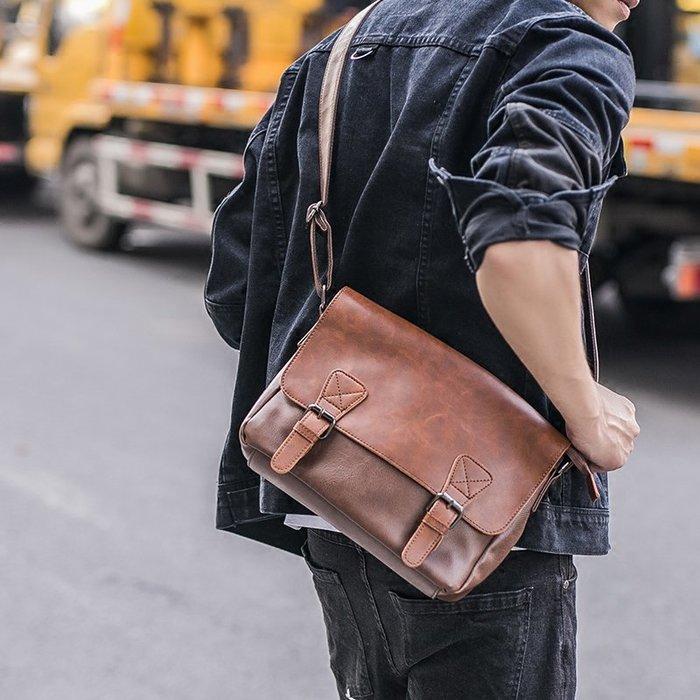 2018新款復古側背包 拉鏈男子背包旅行小包休閑潮男郵差包斜背包 11NLD129