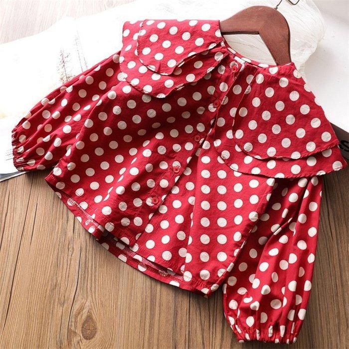 女童 韓荷葉領長袖襯衫春秋圓點甜美襯衣春季新款上衣