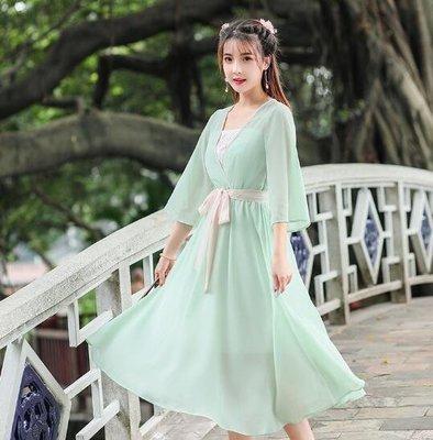 莎芭 漢服洋裝 春夏新款女裝民族風雪紡洋裝 改良漢服 V領刺繡七分袖連身裙
