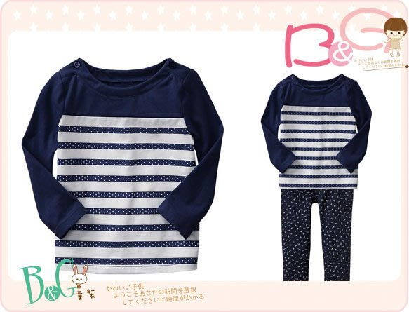 【B& G童裝】正品美國進口GAP Dots & stripes T 點點藍色條紋長袖上衣2,3yrs
