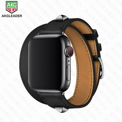適用蘋果手表5代新款柳釘單圈雙圈真皮替換表帶Apple Watch