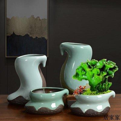 花盆 花器 陶瓷擺飾 新中式創意個性陶瓷花盆鴻運當頭文竹發財樹綠植盆栽簡約室內花盆