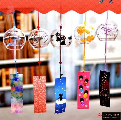 【9折免運】風鈴 日式玻璃櫻花風鈴鈴鐺創意臥室掛件冥想夏日和風掛飾門飾女生 24色【PAPA 購物】
