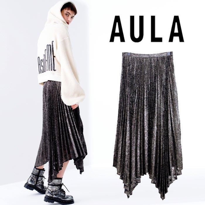 SHINY SPO 獨家代理日本品牌AULA時尚奢華手工金絲刺繡蕾絲不規則下擺設計A字百褶裙
