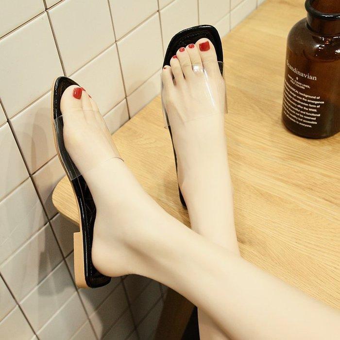ulzzang拖鞋女夏季超夯新款透明外穿一字拖韓版百搭平底平跟涼拖