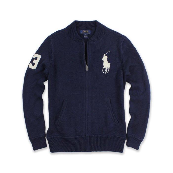 【Polo Ralph Lauren】立領針織外套 繡大馬 數字3 針織毛衣 厚款 POLO衫 大學T 深藍色 大男童