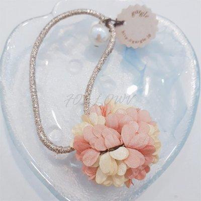 *FollowV*日本飾品《現貨》gargle 日系甜美風 花朵/花瓣 珍珠 金蔥髮束/髮圈/綁頭髮 絕版