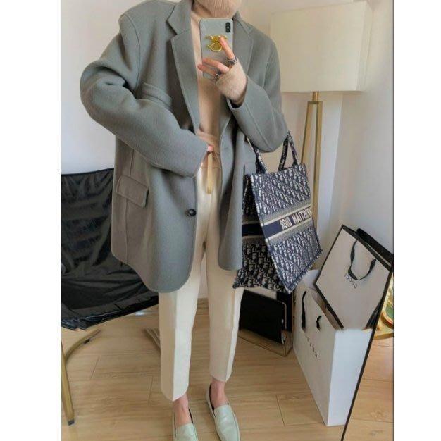 時髦廓形手工雙面尼羊毛大衣 雙排扣翻領西裝寬肩休閒保暖外套.NL Select Shop .