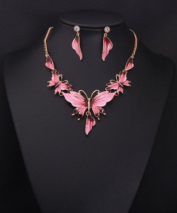 現貨  項鍊+耳環套組  蝴蝶設計  歐美項鍊 森林系女孩