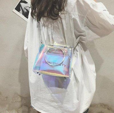 側背包 夏天透明包包新款鐳射仙女斜背包鏈條液體果凍包honey蹦迪包—莎芭