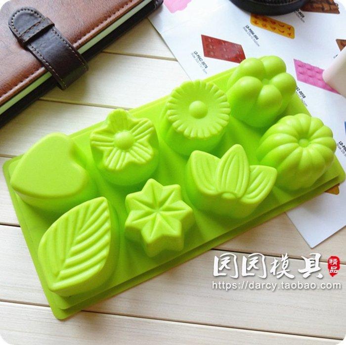 千夢貨鋪-8連花型甜點慕斯果凍巧克力手工皂食品級硅膠模具#手工皂#香皂#製作材料#去螨蟲#清潔