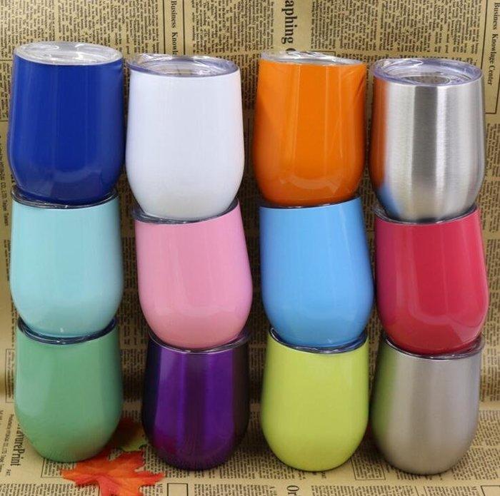 304不銹鋼保溫杯 12oz蛋形杯 雙層 真空 紅酒杯 保溫杯 不銹鋼蛋殼杯7212