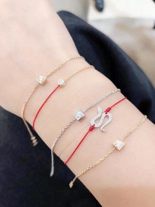 ❤羅莎莉歐美精品代購❤法國RedLine 輕珠寶 illusion 女士黃金鑽石手鍊手環(單繩款) 5分鑽-代購