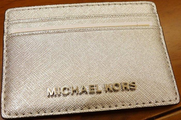 大降價!全新美國名牌 Michael Kors MK 中性銀色經典款皮革名片夾信用卡夾,無底價!本商品免運!