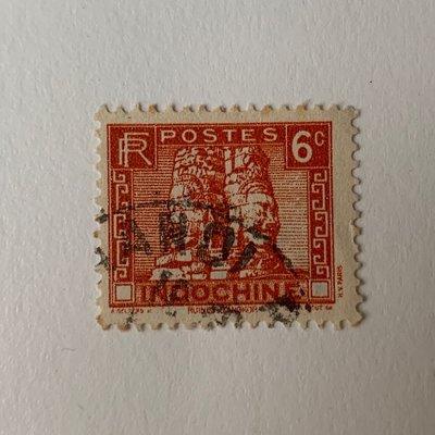 印度支那 Indochine Ruins of Angkor 6 Cents郵戳 Hanoi