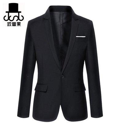 ZIHOPE 春秋季韓版修身小西裝男 休閒西服男士青年英倫純色小西裝外套男ZI812