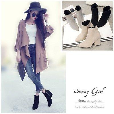 ***Sunny Girl*** [WH0584] 十月.2016秋季新款韓版韓範尖頭粗跟側拉鏈絨面純色短靴踝靴女靴三色