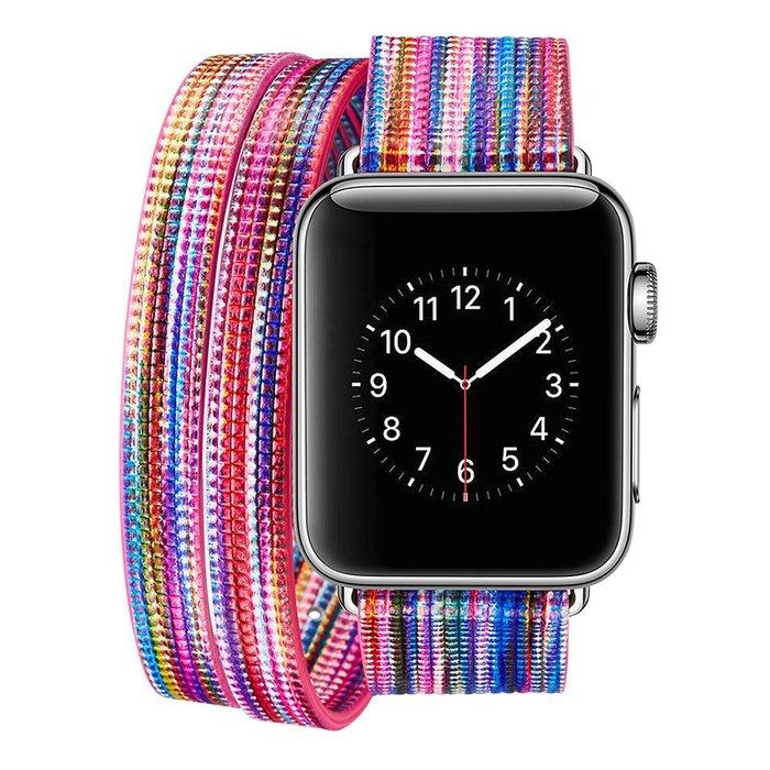 蘋果 apple watch 4 手錶帶 歐美潮牌 彩虹條紋 iwatch4 替換腕帶 時尚簡約  智能手錶帶