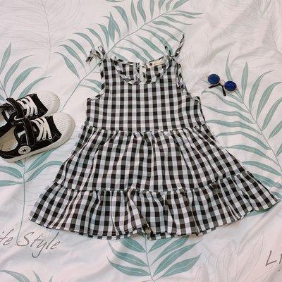 🌼一朵小貓🐈現貨 韓系女童洋裝  黑白小格子 無袖洋裝