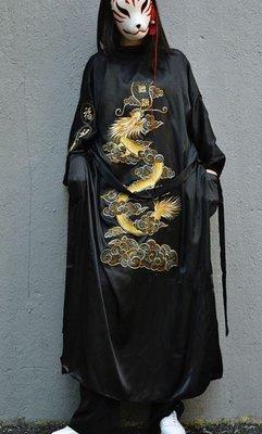 【黑店】中國風金龍刺繡長版睡袍長外套 日式和風寬鬆綁帶外套 仿真絲睡袍浴衣外套 睡衣風 個性穿搭情侶裝 OT113