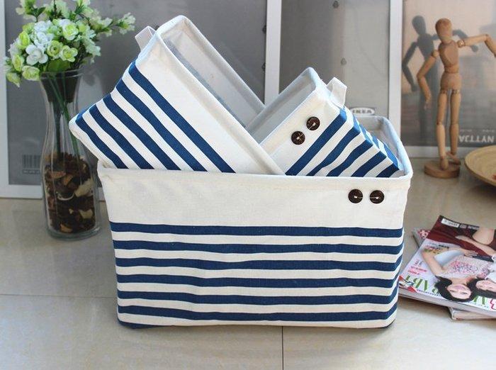 【愛麗絲生活家飾雜貨】zakka居家收納地中海藍白條紋棉麻收納袋/雜物箱/置物袋(小款下標區)